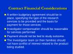 contract financial considerations