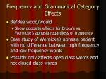 frequency and grammatical category effects
