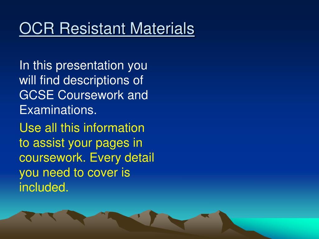 ocr resistant materials l.