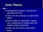 ionic theory