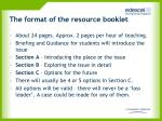 the format of the resource booklet