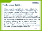 the resource booklet