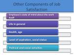 other components of job satisfaction