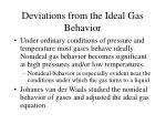 deviations from the ideal gas behavior