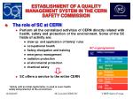establishment of a quality management system in the cern safety commission3