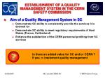 establishment of a quality management system in the cern safety commission4