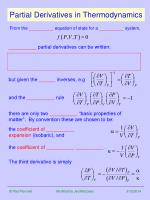 partial derivatives in thermodynamics