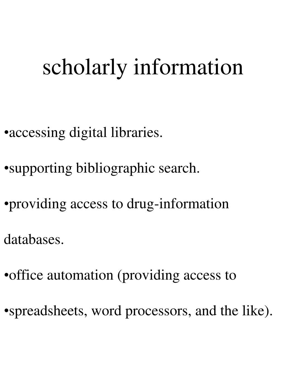 scholarly information