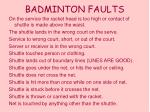 badminton faults