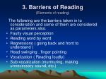 3 barriers of reading elements of reading