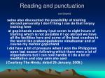reading and punctuation continued