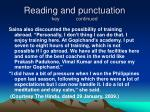 reading and punctuation key continued