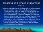 reading and time management continued