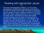 reading with appropriate pause key