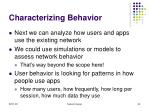characterizing behavior