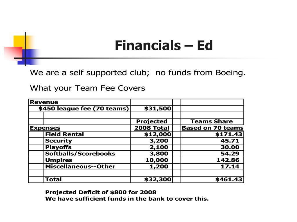 Financials – Ed