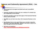 release and indemnity agreement ria jon