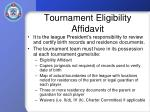 tournament eligibility affidavit