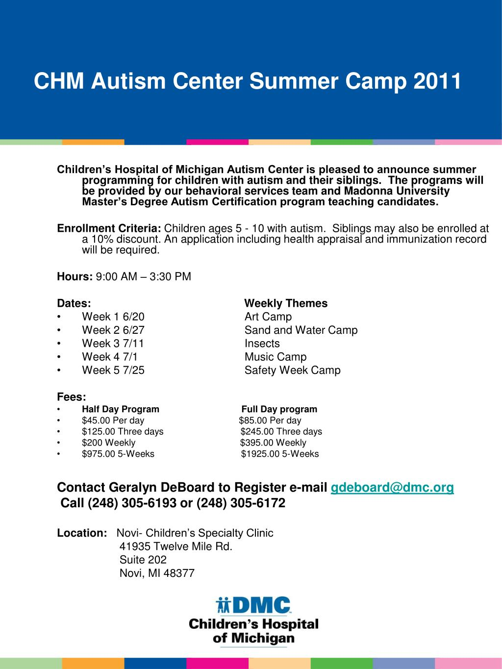 chm autism center summer camp 2011 l.