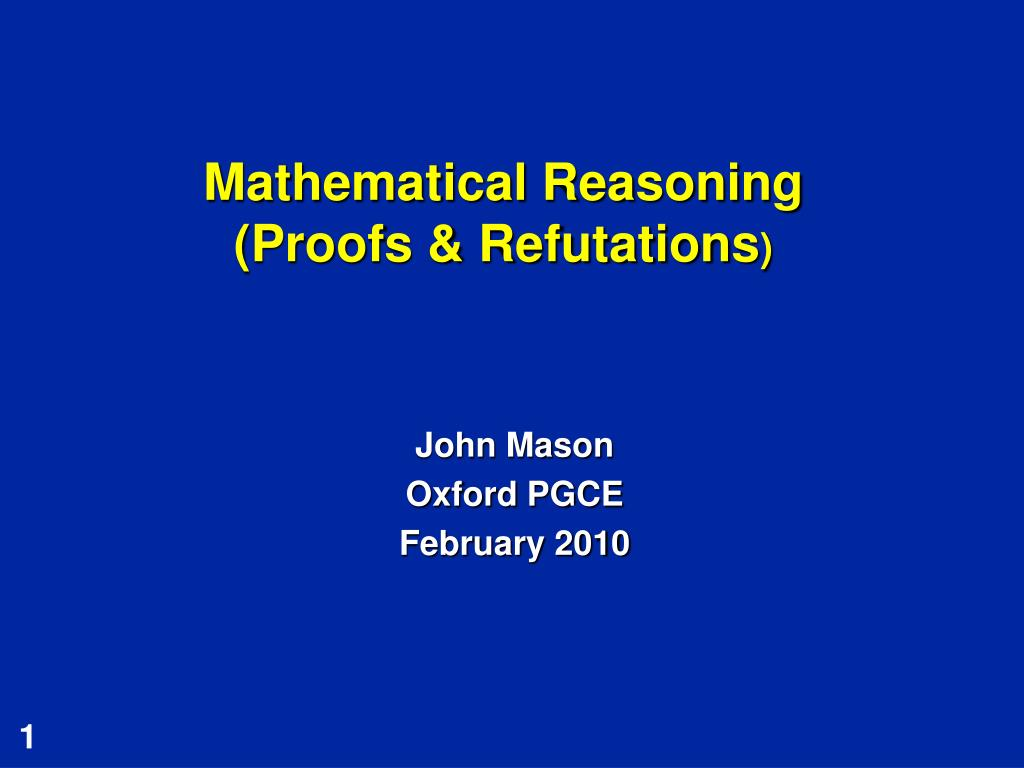 mathematical reasoning proofs refutations l.