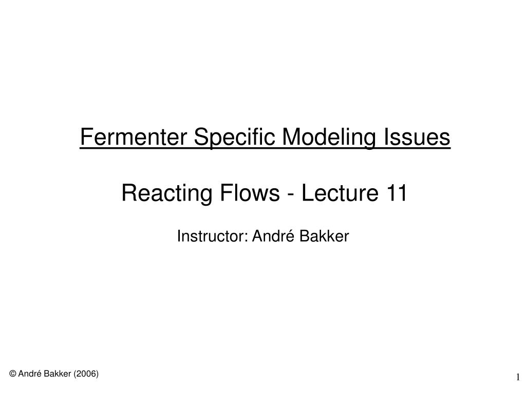 fermenter specific modeling issues reacting flows lecture 11 l.