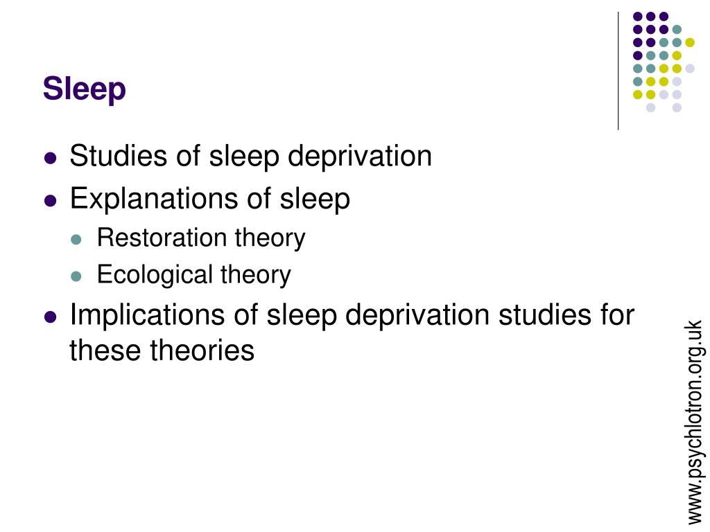 discuss the restoration theory of sleep Sleep and dreaming the average person averages from seven to eight hours of sleep each day, which figures out to around one third of life spent in this altered state of consciousness given that so much of one's time is devoted to it, sleep must serve an extremely important function.