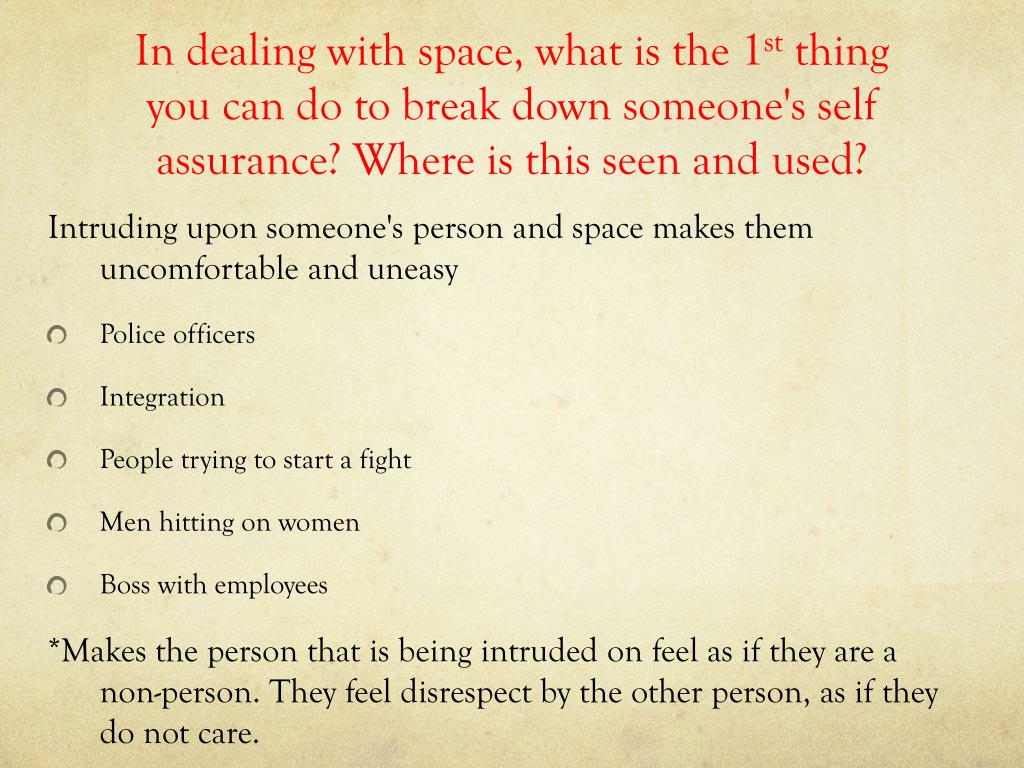 In dealing with space, what is the 1