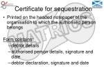 certificate for sequestration12