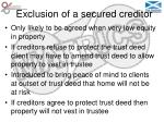exclusion of a secured creditor