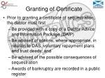 granting of certificate