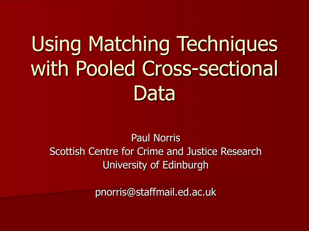 using matching techniques with pooled cross sectional data l.
