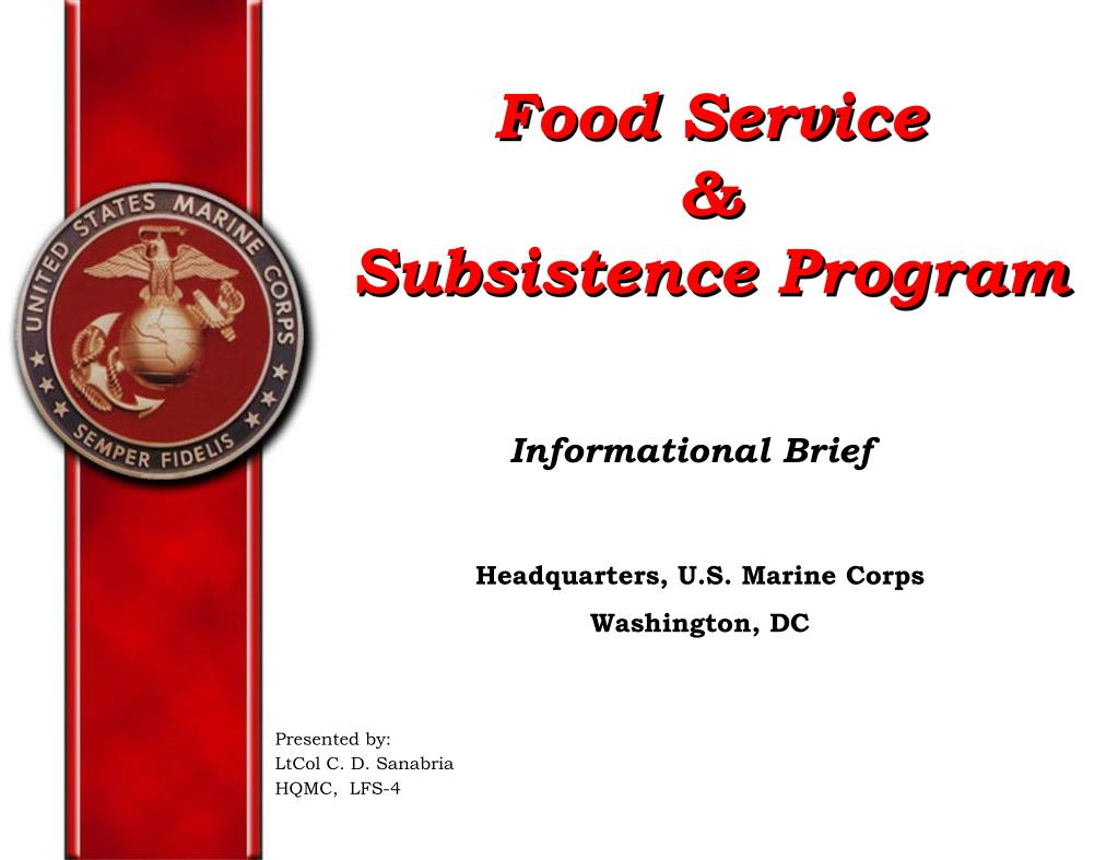 food service subsistence program l.