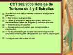cct 362 2003 hoteles de turismo de 4 y 5 estrellas
