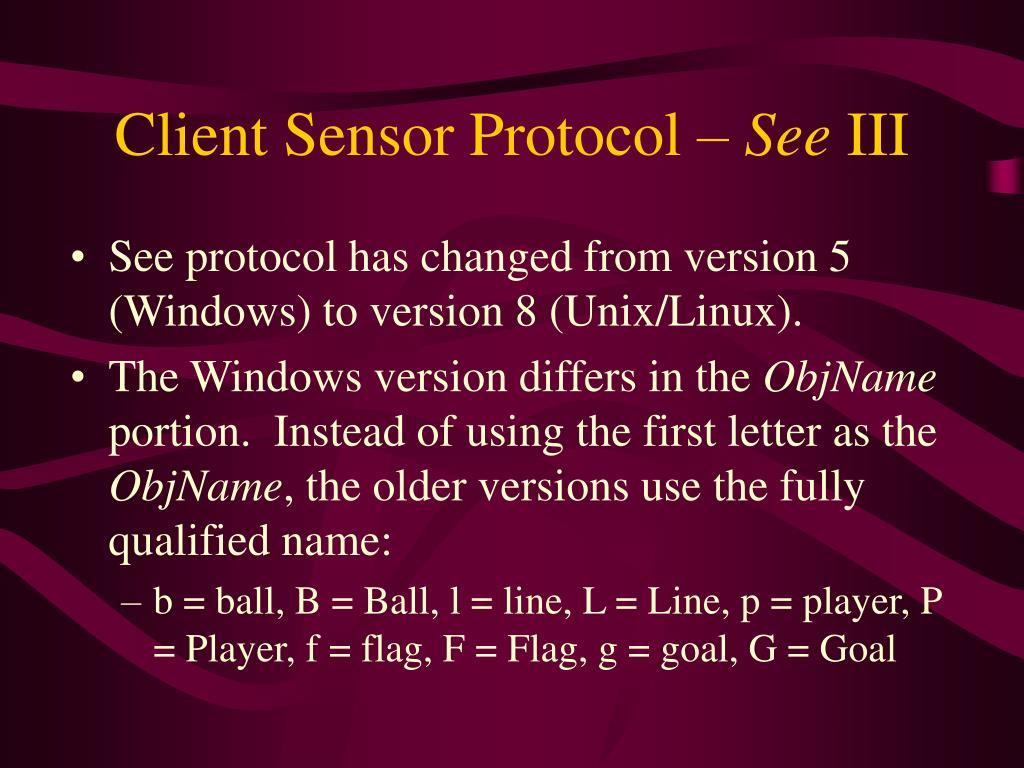 Client Sensor Protocol –