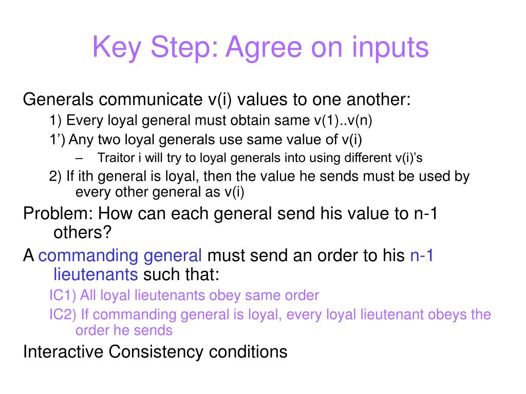 Key Step: Agree on inputs
