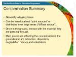 contamination summary