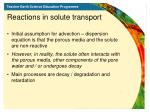 reactions in solute transport