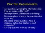 pilot test questionnaires