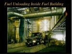 fuel unloading inside fuel building