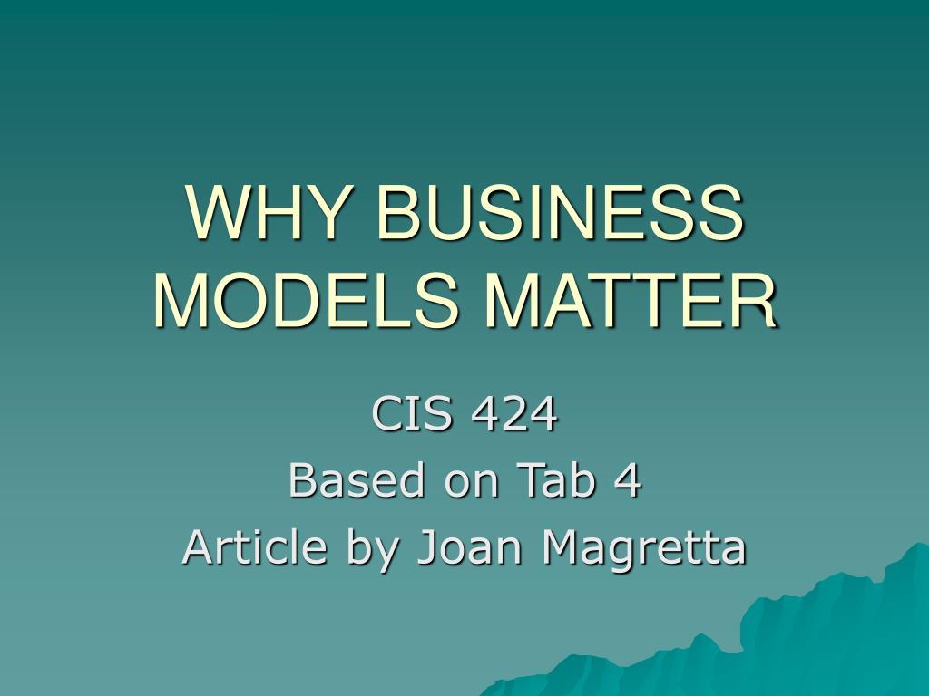 why business models matter l.