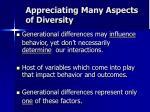 appreciating many aspects of diversity