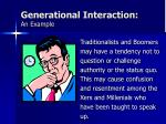 generational interaction an example