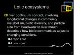 lotic ecosystems