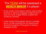 the team will be assessed a bench minor if a player