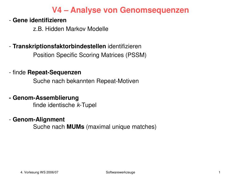 v4 analyse von genomsequenzen l.