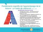fondements cognitifs de l apprentissage de la lecture un cadre de r f rence sedl 200814