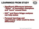 learnings from study