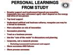 personal learnings from study