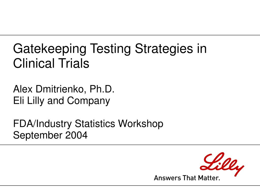 alex dmitrienko ph d eli lilly and company fda industry statistics workshop september 2004 l.
