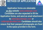 method of application
